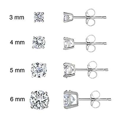 SPOIL CUPID Rhodium Plated 925 Sterling Silver AAA CZ Simulated Diamond Basket Prong Set Stud Earrings