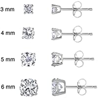 Sterling Silver Cubic Zirconia Classic Basket Prong Set Stud Earrings