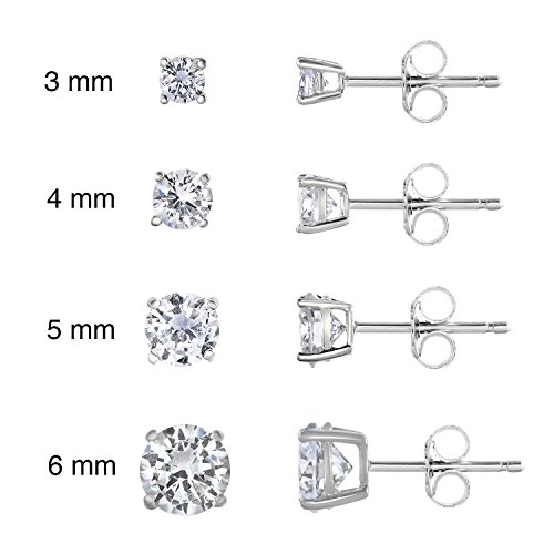 SPOIL CUPID 925 Sterling Silver Rhodium Plated AAA CZ Diamond Basket Prong Set Stud Earrings Set 3-6mm