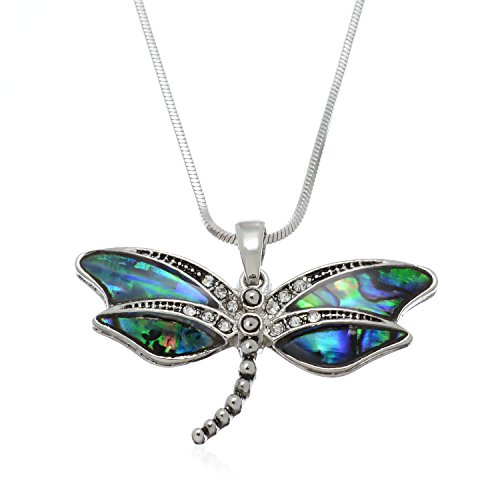 (PammyJ Dragonfly Jewelry - Green Abalone Dragonfly Pendant Charm Necklace, 17.5