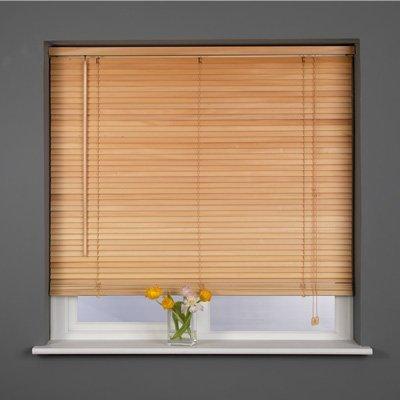 Sunlover Wooden 25mm Hardwood Venetian Blind, Natural, W75cm