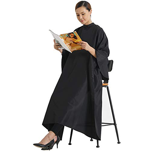 SMARTHAIR Professional Salon Cape Polyester Haircut Apron Hair Cut Cape,54''x62'',Black,C007001E-L by SMARTHAIR (Image #1)