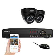 SANSCO Security Camera System with 4-Channel 1080N DVR and 2 Dome Cameras (Both HD 720p 1MP) Smart Surveillance Camera Kit, Hard Drive Not Included