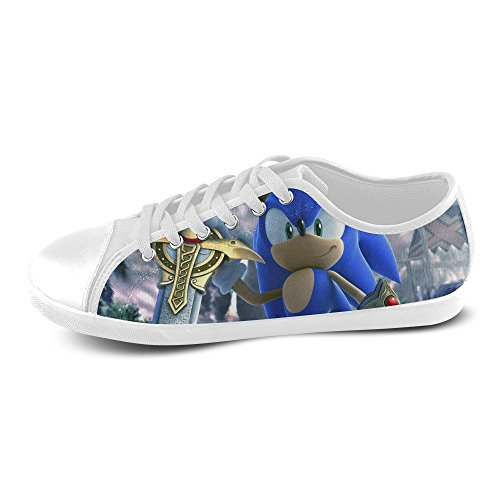 Show-shoes Custom Sonic The Hedgehog Lace-up Flats Canvas Shoes Soft Comfortable Sneakers for Adult Women (Model016) 6US (Sonic The Hedgehog Sneakers)