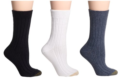 Gold Toe Women's 3-Pack Weekend Sock, Denim, 9-11 (Shoe Size ()
