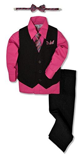 Johnnie Lene JL40 Pinstripe Boys Formal Dresswear Vest Set (16, Black/Fuchsia)