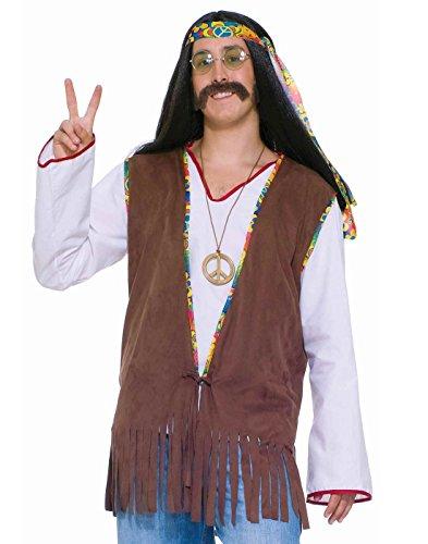 Forum Novelties Men's Generation Hippie Costume Vest, Brown, One (Men's 60s Costumes)