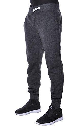 Mens Active Basic Urban Harem Slim Fit Elastic Fleece Jogger Pants (Large, Charcoal)