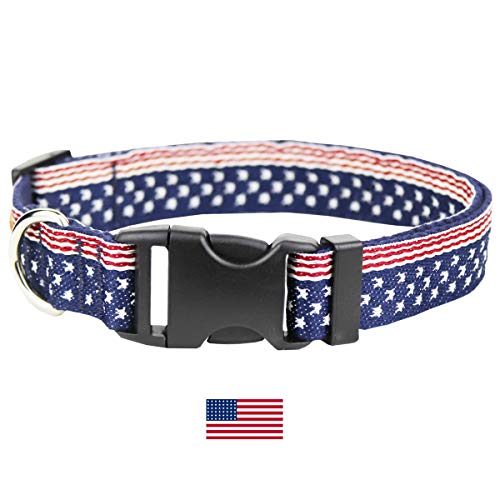Egoola American Flag Dog Collars Adjustable USA Basic Dog Collar Soft Comfortable Pet Collar for Size S M and L Dogs