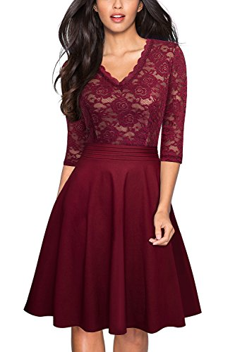 HOMEYEE Women's Chic V-Neck Lace Patchwork Flare Party Dress A062 (4, Wine) for $<!--$36.99-->