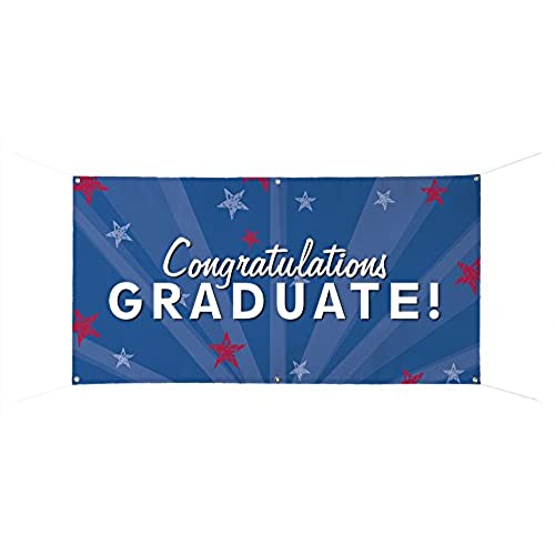 chic congratulations graduate full color durable banner 24 x