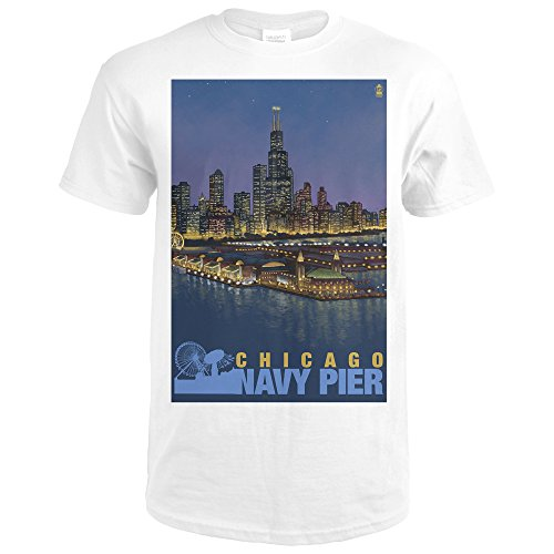Lantern Press Chicago, Illinois - Navy Pier and Sears Tower (Premium White T-Shirt (Pier Tower)