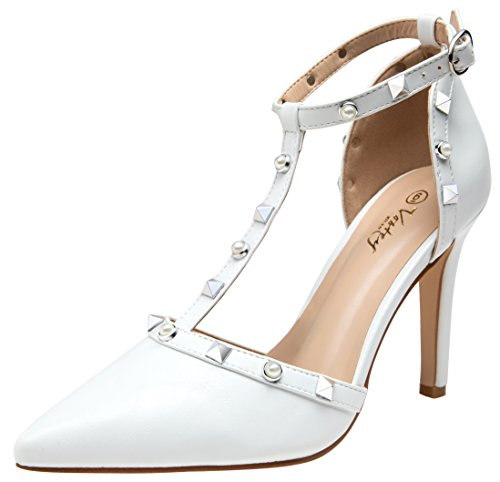 (VOSTEY Women Pumps Rivet High Heels T-Strap Pumps for Women (White Pu)