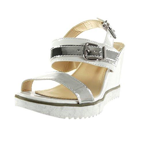 Angkorly - damen Schuhe Sandalen Mule - sneaker Sohle - knöchelriemen - glänzende - Schleife Keilabsatz high heel 9 CM - Weiß