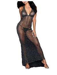 unniful Women's Halter V Neck See Through Lingerie Maxi Dress Nightgowm Chemise Sleeping Dress