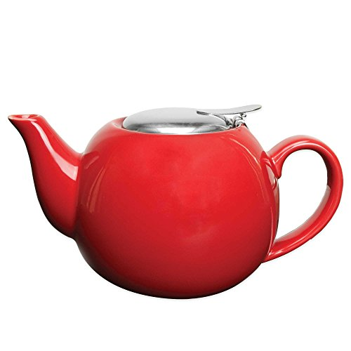 Primula Glass Top (Primula Ceramic Teapot with Stainless Steel Infuser in Red)