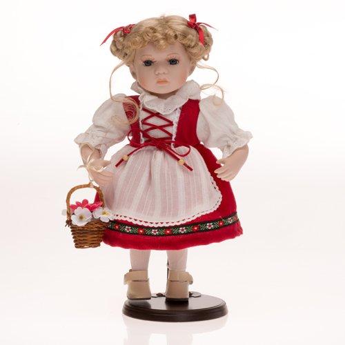 Faelens Bambola di Porcellana, 30 cm, con Supporto in Legno