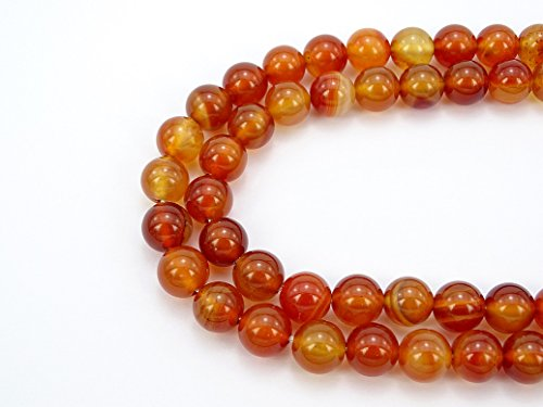 - jennysun2010 Natural Carnelian Agate Gemstone 6mm Smooth Round Loose 60pcs Beads 1 Strand for Bracelet Necklace Earrings Jewelry Making Crafts Design Healing