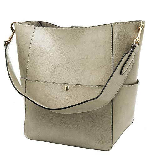 Molodo Womens Satchel Hobo Top Handle Tote Leather Handbag Designer Shoulder Purse Bucket Crossbody Bag (Grey)
