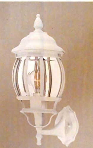 Exterior Hampton Light Bay (1-Light Outdoor White Wall Lantern with Clear Beveled Glass)