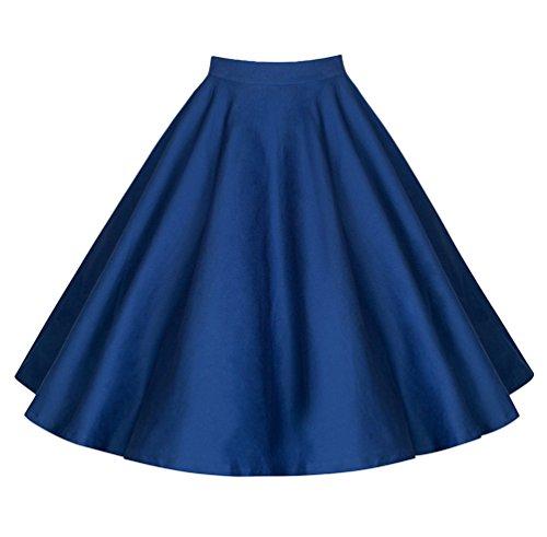 YuanDian Mujer Verano Retro 50s Rockabilly Falda Midi A Linea Plisada Campana Vuelo Fiesta Oscilación Alto Cintura Faldas Azul
