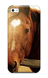 Fashion Tpu Case For Iphone 5c- Beautiful Brown Horse Defender Case Cover