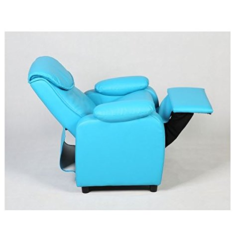 MD Group Kid Sofa Armrest Recliner Chair Blue Soft Suede Cover Children Living Room Furniture