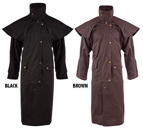 (Acerugs Mens Long Black Brown Trench Coat Australian Outback Oilskin Duster Waterproof Jacket S M L XL 2XL 3XL 4XL 5XL 6XL (Brown, Large))