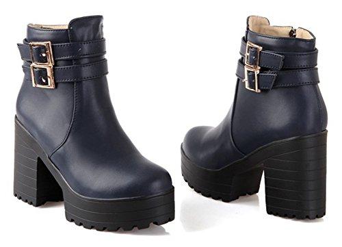 Thick Boots Navy Women's Booties Platform Ankle Buckle Up With Inside Block Heel Aisun Zip High Strap Round Sole Zipper Blue Short Toe 57dAwTqR
