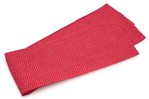 腐ったアセンブリ音節半幅帯 おび工房 桐生織 チェリーピンク 波 縞 ラメ 絽 メッシュ 女性帯 細帯 半巾帯