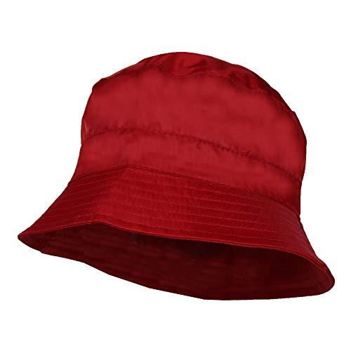 Red Waterproof Packable Rain Bucket Hat, Zip Pocket – Foldable Crusher Cap ()
