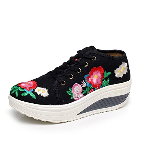 Wedge Sneakers Brodée Skylar Chaussures Tone Walking Plate Toile forme Noir Fanwer 5qY8w