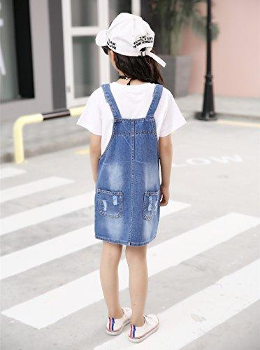 Kidscool Girls 5 Round Ripped Bibs Jeans Overalls Dress,Light Blue,6-7 Years by Kidscool (Image #1)