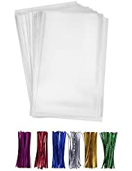 """200 Clear Treat Bags 6x9 with 4"""" Twist Ties 6 Mix Colors - Thick OPP Plastic Bags for Wedding Cookie Birthday Cake Pops Gift Candy Buffet Supplies"""