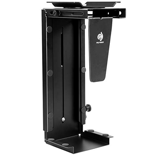 CPU Holder Under Desk Mount - Adjustable Wall PC Mount with 360° Swivel, Heavy Duty Computer Tower Holder Holds up to 22lbs by HUANUO