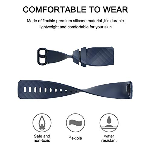 Velavior Waterproof Bands for Fitbit Charge 3 / Charge3 SE, Replacement Wristbands for Women Men Small Large (Navy, Large)
