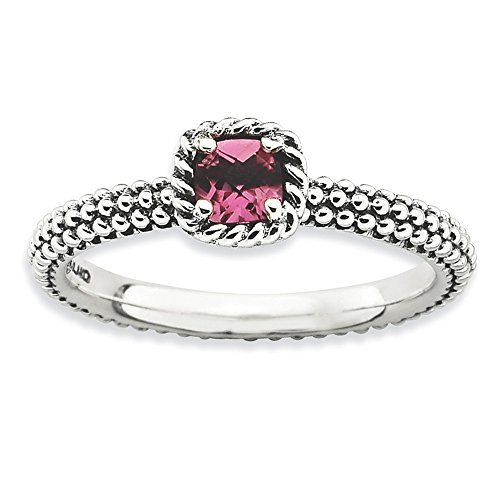 Sterling Silver Stackable Expressions Checker-cut Pink Tourmaline Ring Size 5 Cut Pink Tourmaline Ring