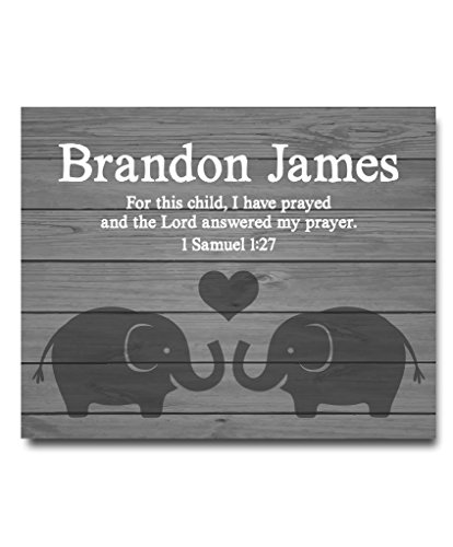 Personalized Name Prints Art (I Have Prayed Paper Art Print | Boys Wall Art | Boy Name Decor | Baby Boy Gift | Personalized Baptism Gift | Christening Gift | Religious Gift | Baptism Present | First Communion | Paper Art Print)