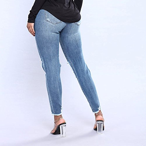 De Kairuun Droits Haute Taille Skinny Jeans Pantalon Ripped Femmes Trou Jeans Pantalons Extensible Zipper r6rXxz