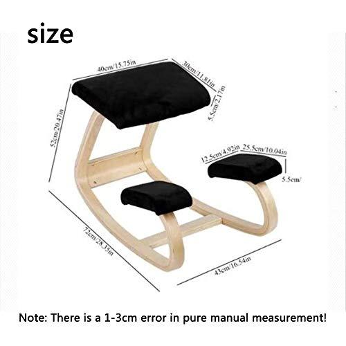 LLFFDC Ergonomisk knästol pall, hem kontor möbler gungande trä knä dator hållning stol design, svart