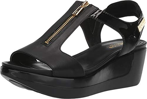 Kenneth Cole REACTION Women's Pepea T-Strap Platform Sandal Wedge, Black, 10 M US