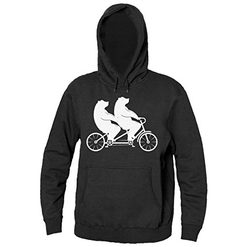 Bears Riding Tandem Drawing Men's Hooded Sweatshirt Extra Large