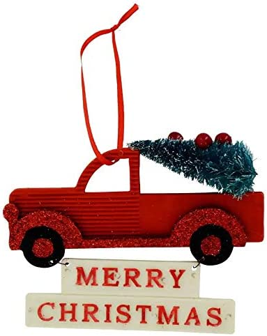 Ornament Decoration Merry Christmas Sign Red Pickup Truck Small Celebrate A Holiday for Country Home Wall Decor Garden Xmas Quote House Yard Indoor Outdoor Tree 5 x 3.5 Decorative Winter Farmhouse