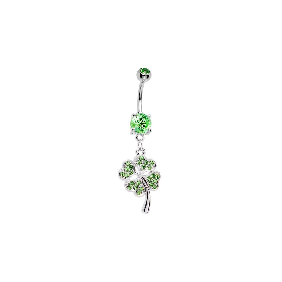 Green Gem Paved Shamrock Belly Ring