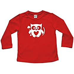 Cupid Owl - Valentine's Day Baby & Toddler Long Sleeve T-shirt (18-24 months, Red with White Vinyl)