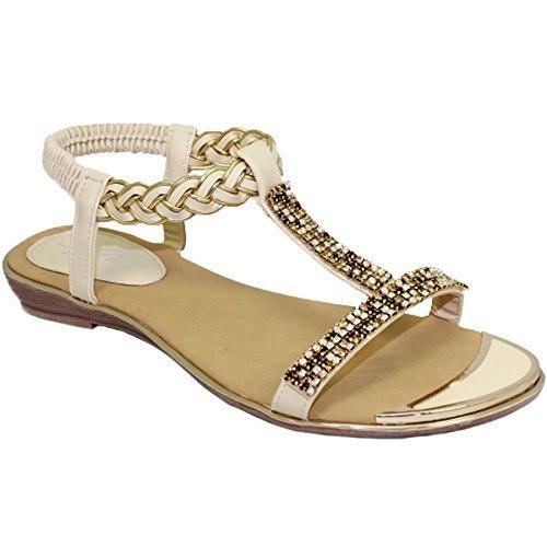 Fantasia Boutique JLH913 Comet Padded Insole Slip On Gold Plate T Bar Gemstone Sandals Shoes Beige 7eBXdJSZ