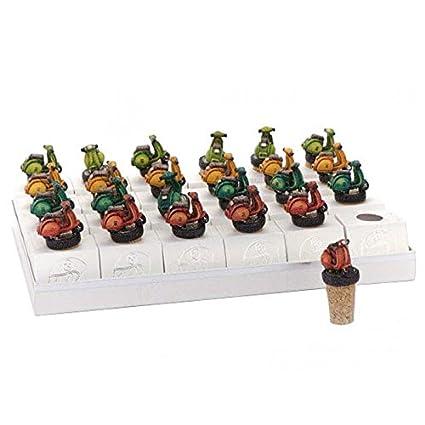 Le Fantasie di Casa - Torta porta-souvenir con bandeja - 24 souvenir - Modelo Tapones de botella de corcho con Mini-Scooter decorado Torta porta-souvenir, ...