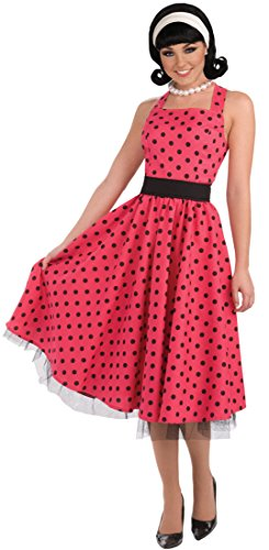 [Forum Novelties Women's Flirting with The 50's Polka Dot Cutie, Red, X-Large] (Retro Housewife Costume)