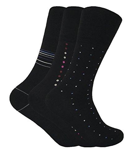 3 Pack Mens Loose Non Binding Wide Top Antibacterial No Sweat Bamboo Dress Socks (7-12 US, (Elastic Mens Socks)