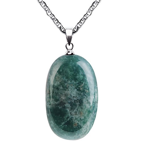 (iSTONE Natural Gemstone Water Drop Moss Agate Pendant Necklace with Stainless Steel Chain 20)